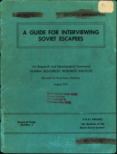 Guide for Interviewing Soviet Escapees