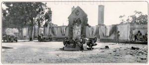 01AD9J95; The exterior of Government House in Nicosia, Cyprus, after its destruction by fire on the night of 21 October 1931. The fire was the culmination of a demonstration by 5000 supporters of enosis - ...