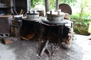 Traditional firewood cooking stove still in use. Saijo, Ehime, Japan, 2014