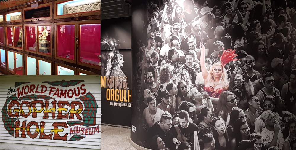 Composite of a Tibetan monastery museum display; the sign for the Gopher Hole museum, and the entrance to the museum of sexual diversity in Sao Paolo