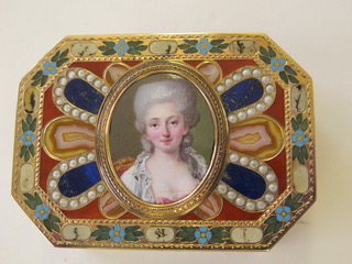 A rectangular, gold-mounted hardstone snuffbox with canted corners, the cover set with an oval, bust-length enamel miniature of a young lady. Johann Christian Neuber (1735-1808), box, probably; Nicholas Claude Vassal, miniature, probably Probably Dresden (city); Paris Ca. 1780; 1775-1780 Chased gold with agate, lapis lazuli, carnelian, bloodstone, turquoise, and imitation pearls