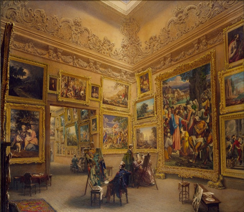A picture gallery, probably 18th century. The walls are filled with paintings while seated viewers look on.