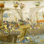 English: A Naval Battle; Antwerp, after 1464, from the Roman de Gillion de Trazegnies, fol. 21. Lieven van Lathem (1430–1493), Getty Center