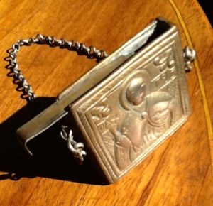 Wearable Byzantine case, 19th cent.? 4.5 x 4.5 cm, chain 24 cm, metal, private collection, photo © George Greenia.