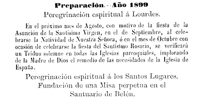 Announcement of a spiritual pilgrimages to Lourdes, France and the Holy Land from the Boletín Eclesiástico del Obispado de Mondoñedo Num. 13 (01/07/1899)