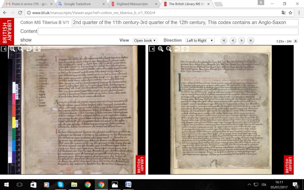 Image 17. British Library MS Cotton Tiberius B V/1, ff. 23v–24r