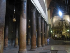 Church of the Nativity, Bethlehem (Source: Wikimedia Commons, BethlehemInsideCN.jpg)