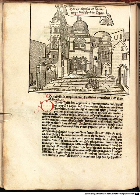 Image 1. The Church of the Holy Sepulchre in the pilgrimage account of Bernhard von Breydenbach (f.28v). Source: Münchener DigitalisierungsZentrum, Bayerische Staatsbibliothek. (CC BY-NC-SA 4.0).