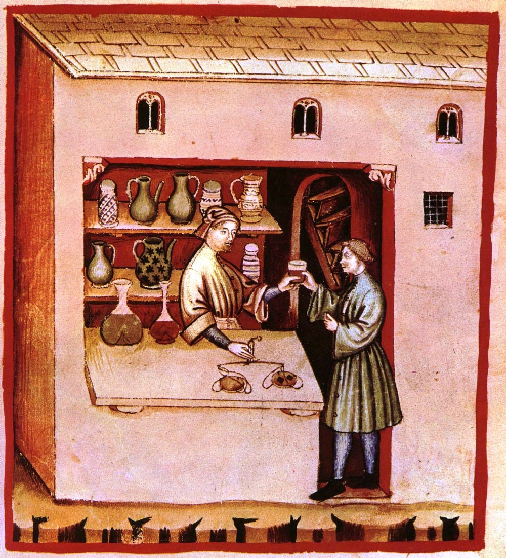 "Image 2. A medieval pharmacy depicted in the Tacuinum sanitatis, an illustrated herbal based on the ""Taqwīm as‑siḥḥah"" of Ibn Butlan. [Source: www.wikidoc.org]"