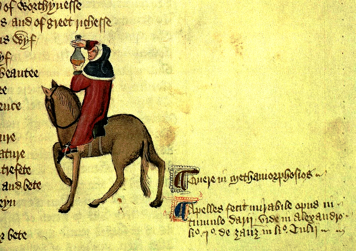Image 1. Geoffrey Chaucer's Physician on his way to Canterbury, from the Ellesmere Manuscript [Source: https://commons.wikimedia.org]