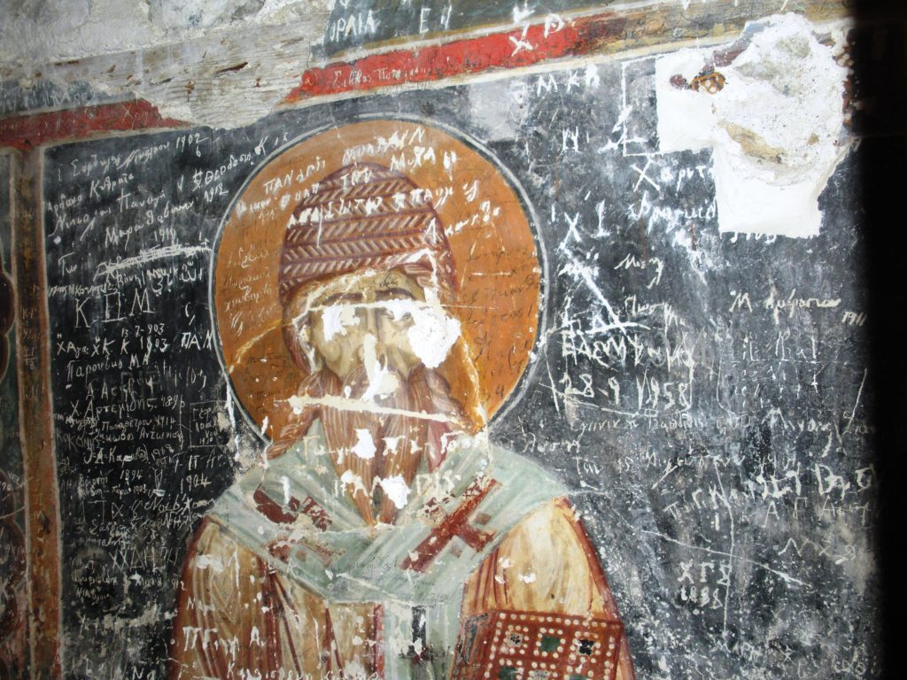 Image 4. Twelfth-century fresco with later graffiti and pilgrim records from the Church of Christ Antiphonitis, Cyprus (now in the northern occupied area)