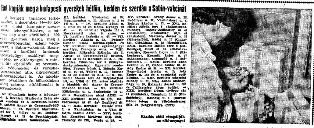Article detailing the Sabin vaccine campaign of December, 1959. Népszava, December 12, 1959. p. 1
